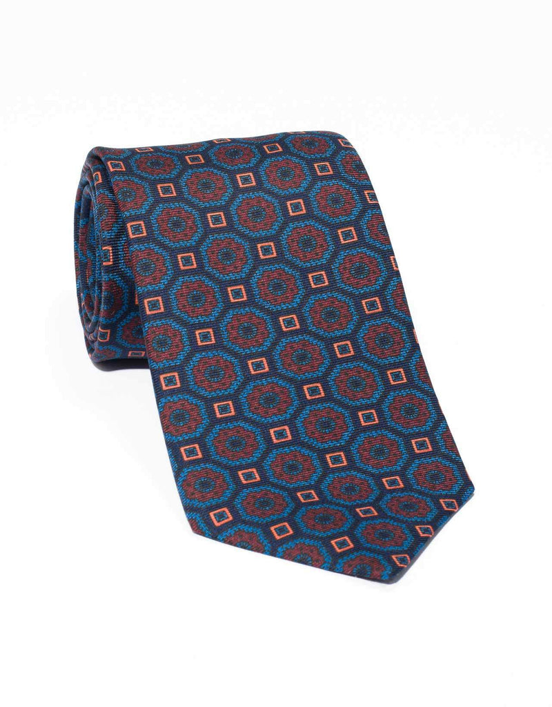 ANCIENT MADDER LARGE FOULARD TIE - NAVY