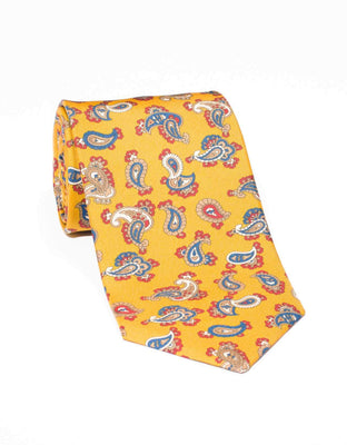 SILK SMALL PAISLEY TIE- GOLD