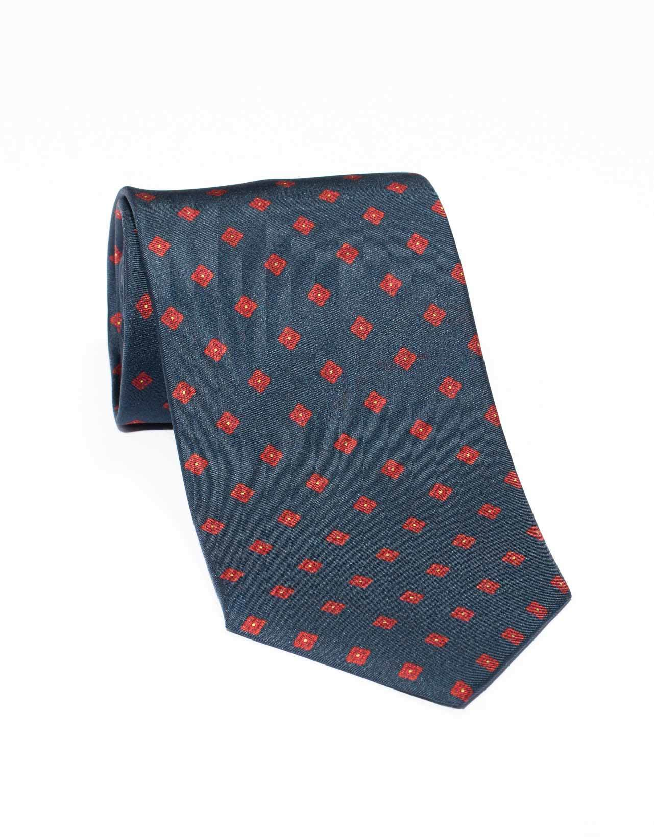 SILK SMALL SQUARE TIE- NAVY/RED