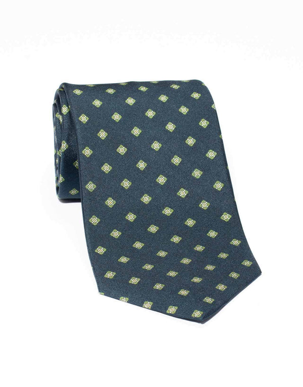 SILK MEDIUM SQUARE TIE- NAVY/GREEN