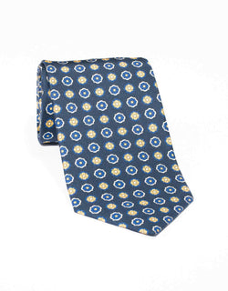 SILK MEDIUM FOULARD TIE - NAVY