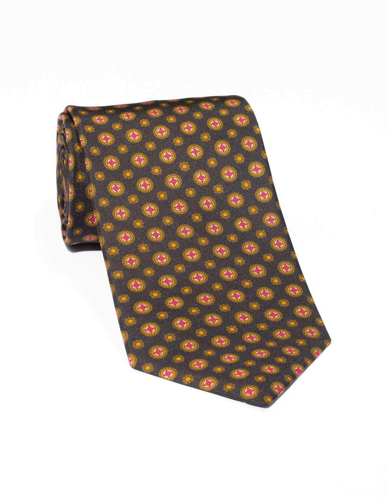SILK MEDALLION AND FOULARD TIE- BLACK