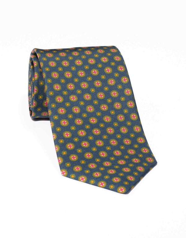 SILK MEDALLION AND FOULARD TIE - NAVY