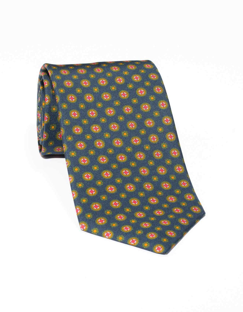 SILK MEDALLION AND FOULARD TIE- NAVY