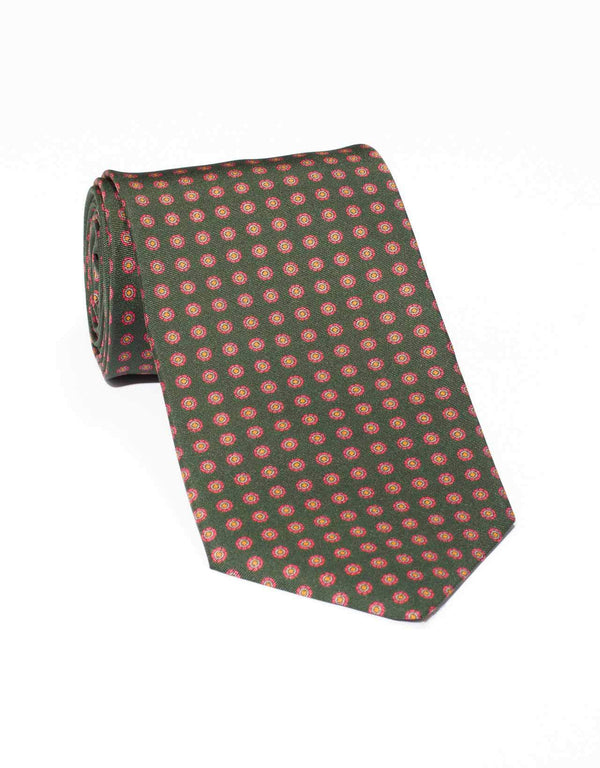 SILK SMALL FOULARD TIE - GREEN