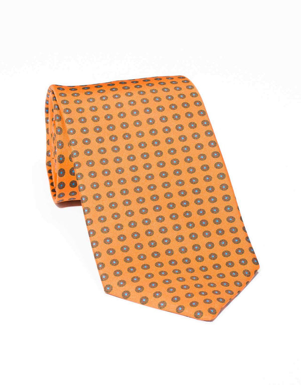 SILK SMALL FOULARD TIE - ORANGE