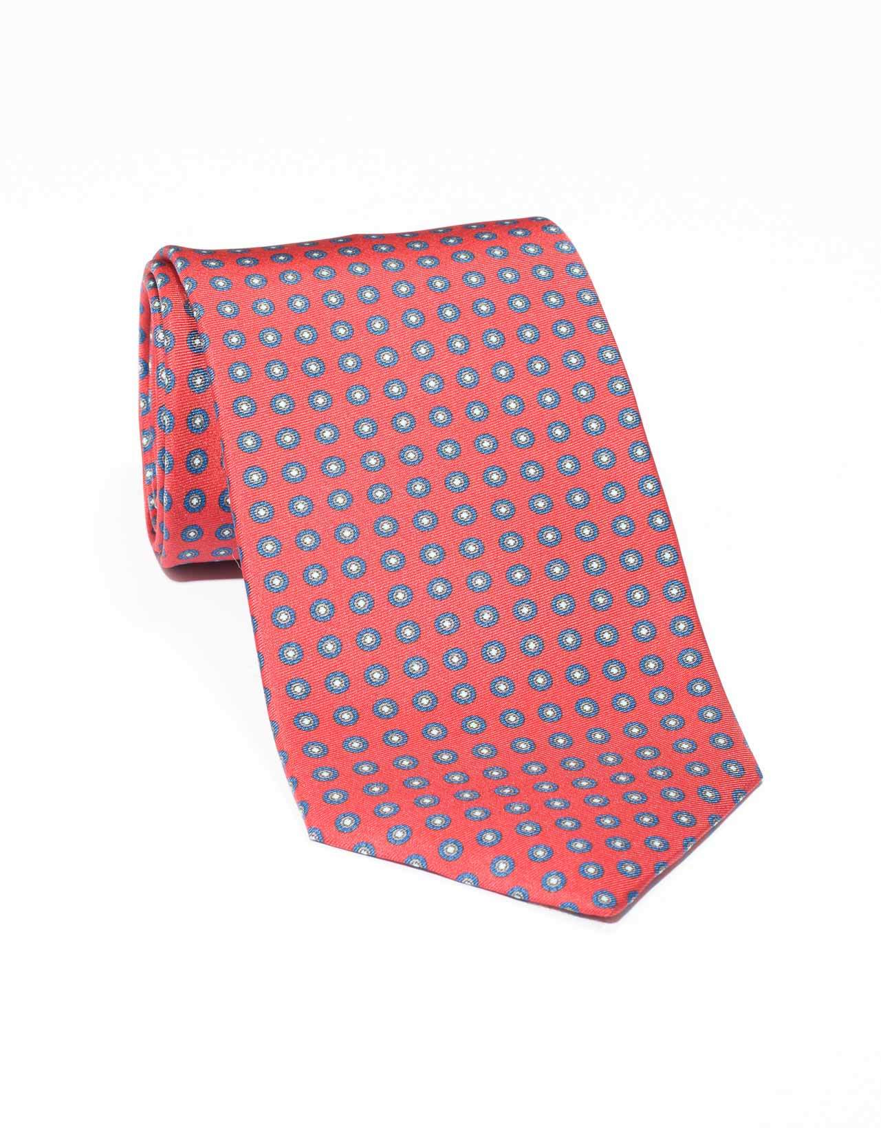 SILK SMALL FOULARD TIE- RED