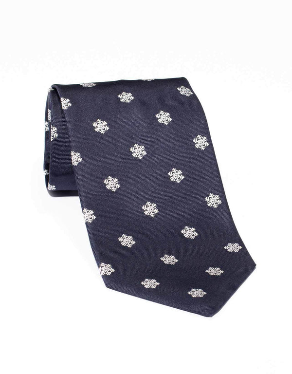 EMBLEMATIC SNOW FLAKE TIE - NAVY