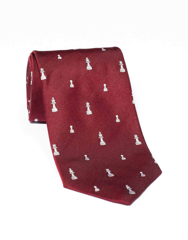 EMBLEMATIC CHESS TIE - BURGUNDY