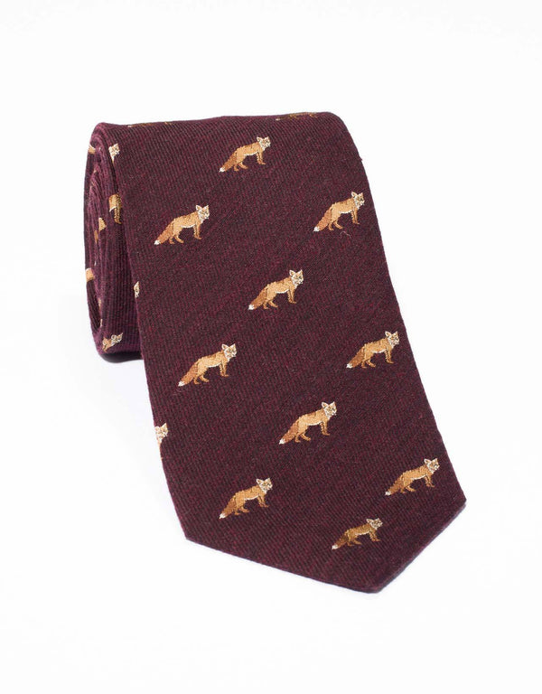 EMBLEMATIC FOX TIE - BURGUNDY
