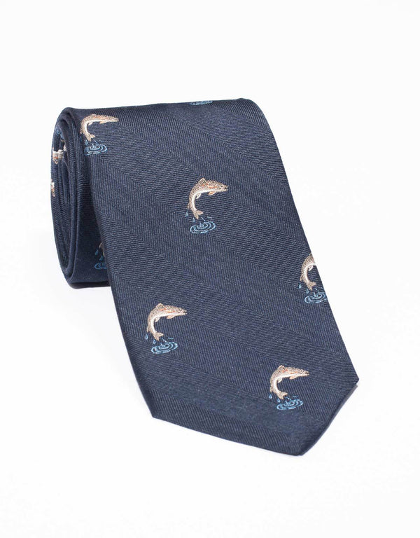 EMBLEMATIC TROUT TIE - NAVY