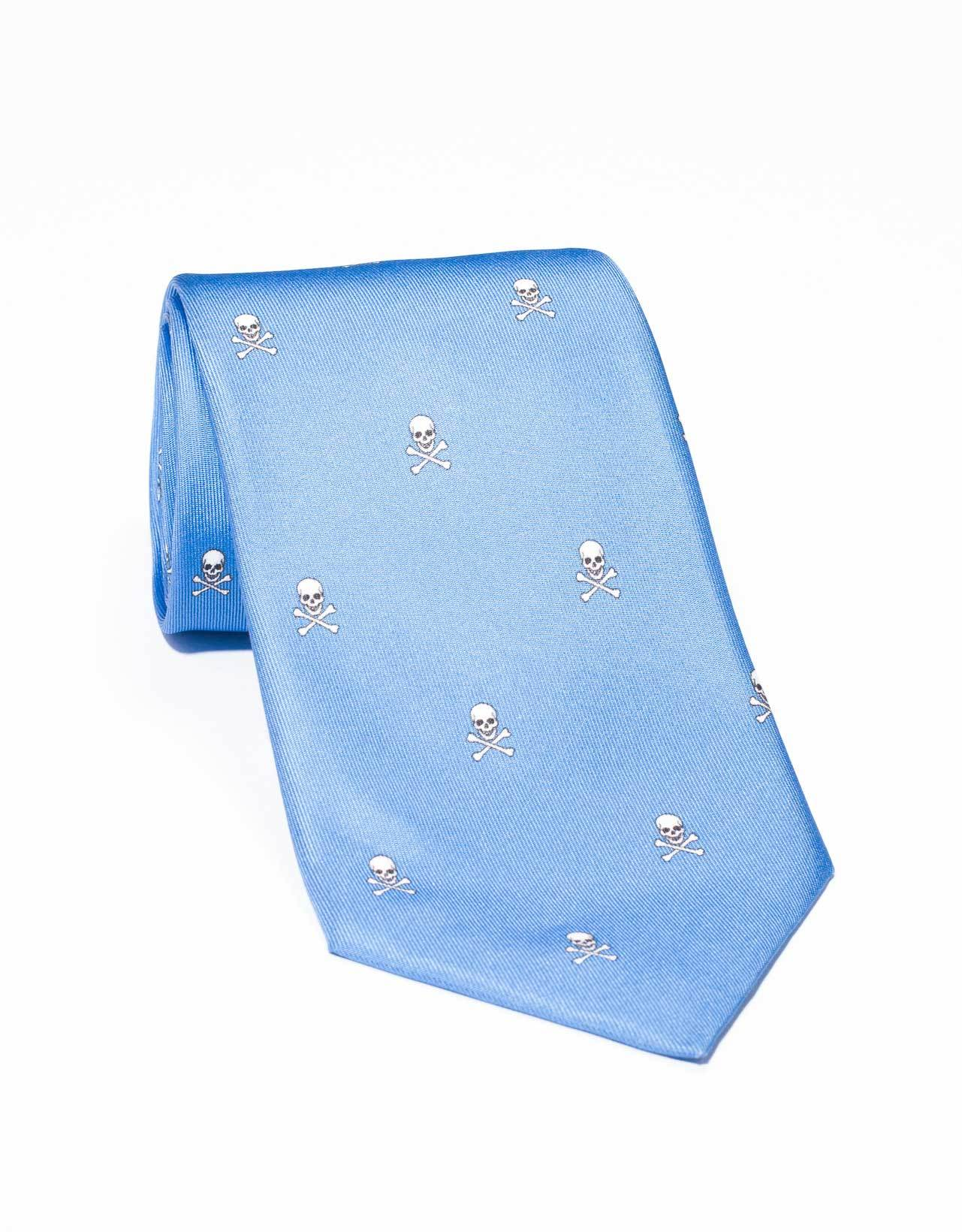 PRINTED SKULL AND BONE TIE- BLUE