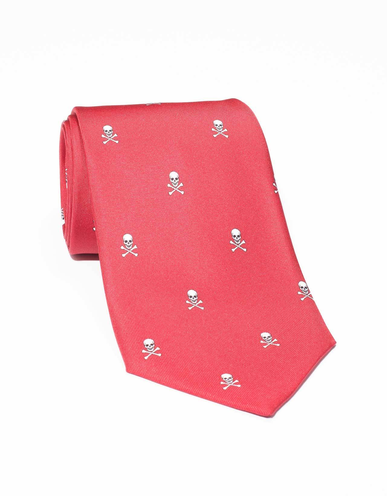 PRINTED SKULL AND BONE TIE- RED