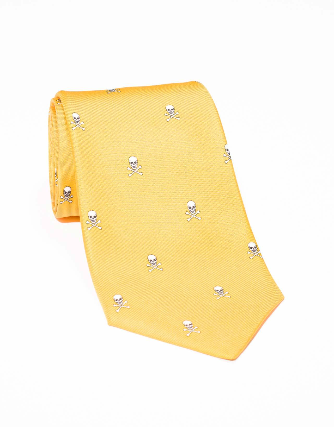 PRINTED SKULL AND BONE TIE- YELLOW