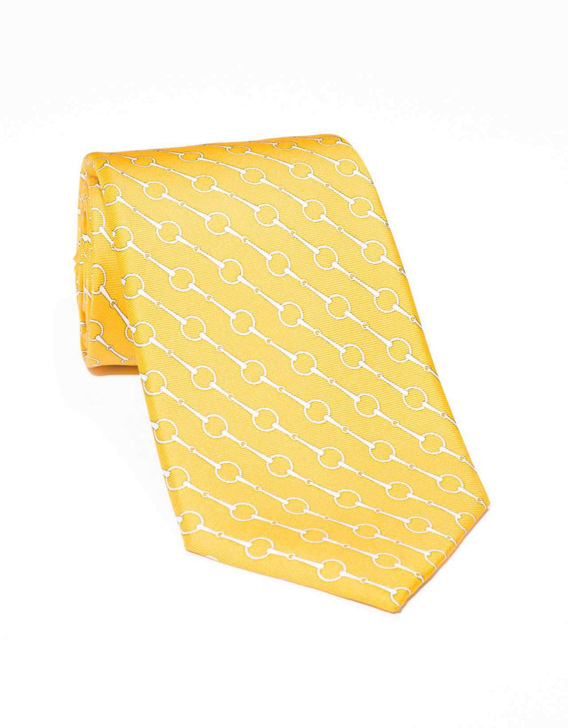 PRINTED LINK TIE- YELLOW