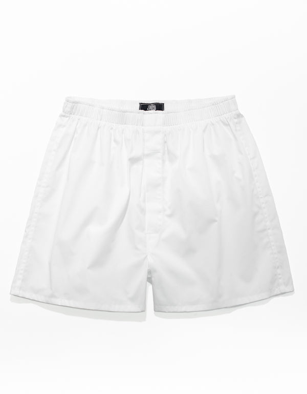 WHITE BROADCLOTH BOXERS
