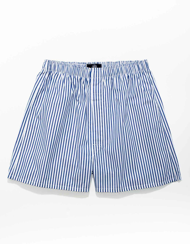 BLUE/WHITE BUTCHER STRIPE BOXERS