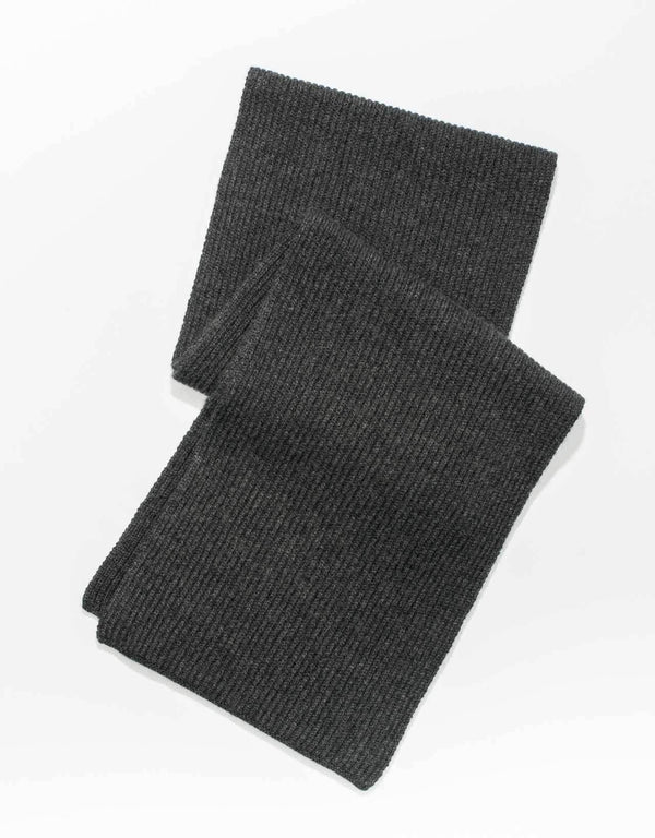 CASHMERE RIB SCARF - CHARCOAL
