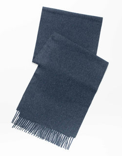 ESCORIAL WOOL SOLID SCARF - NAVY