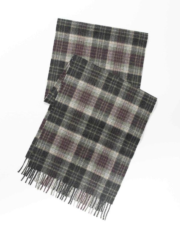 ESCORIAL WOOL CHECK SCARF - BURGUNDY