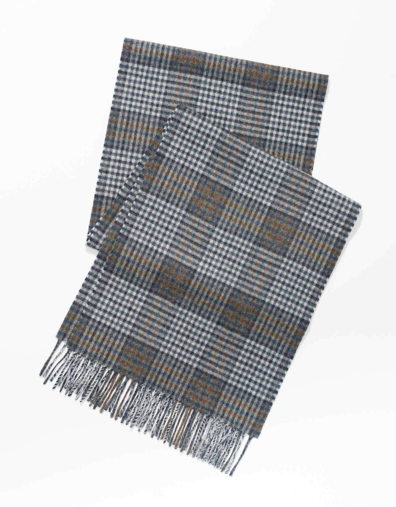 ESCORIAL WOOL CHECK SCARF - BLUE