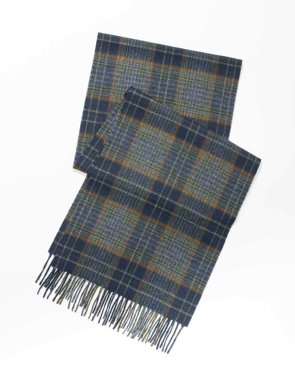 ESCORIAL WOOL CHECK SCARF - NAVY