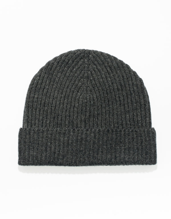 CHARCOAL 100% CASHMERE RIBBED HAT