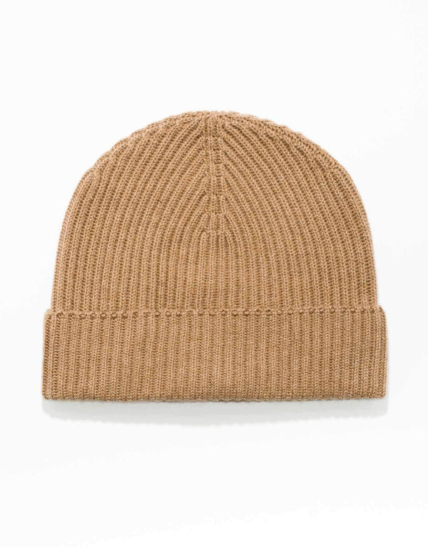 CAMEL  100% CASHMERE RIBBED HAT