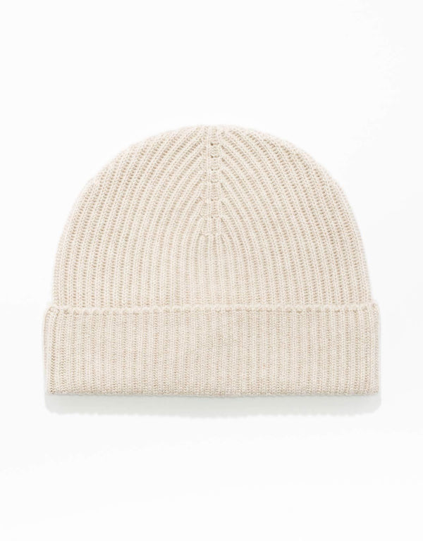 NATURAL  100% CASHMERE RIBBED HAT
