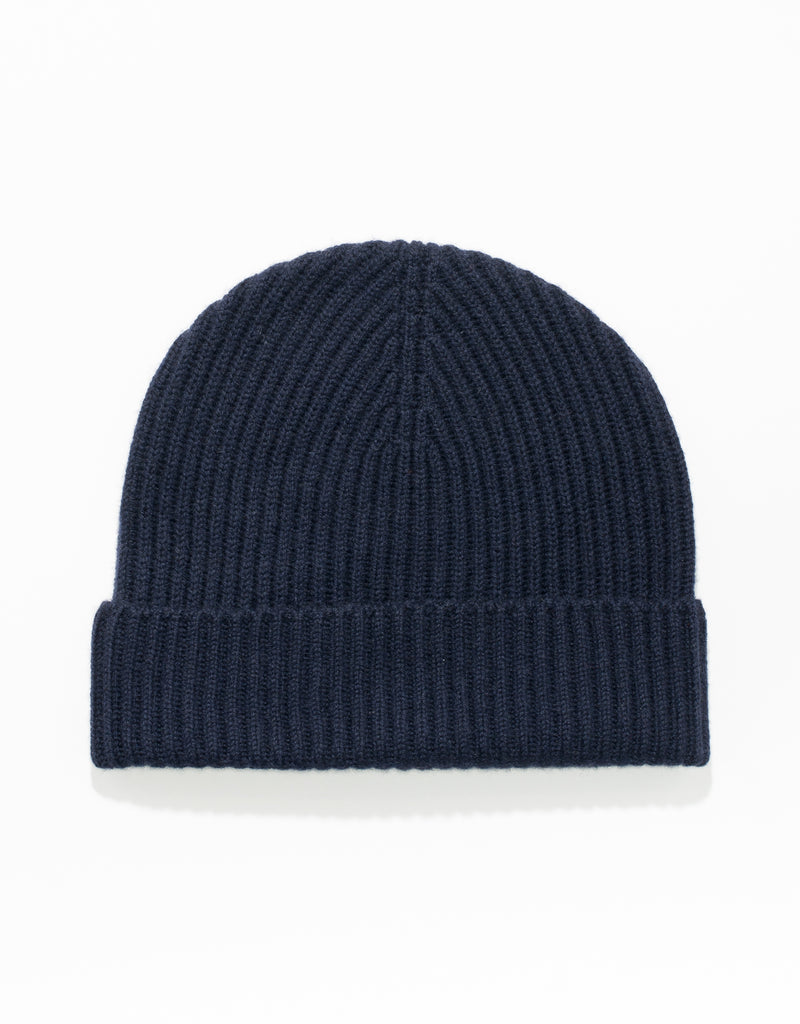 CASHMERE RIBBED HAT - NAVY