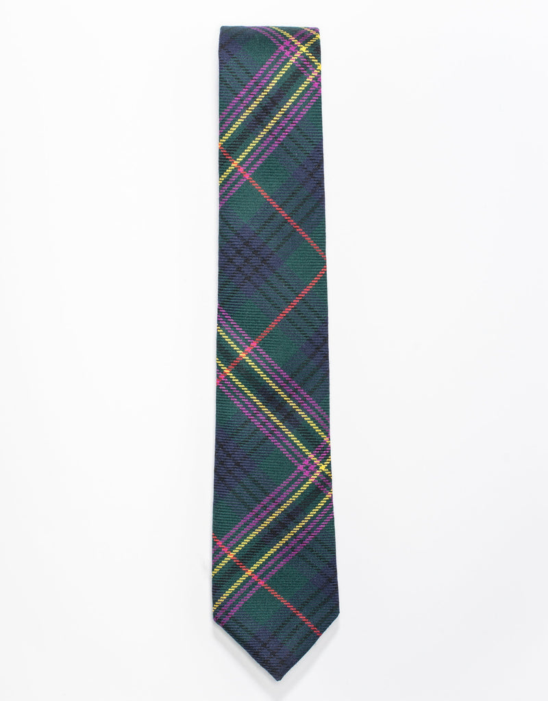 NARROW WOOL TARTAN TIE - GREEN
