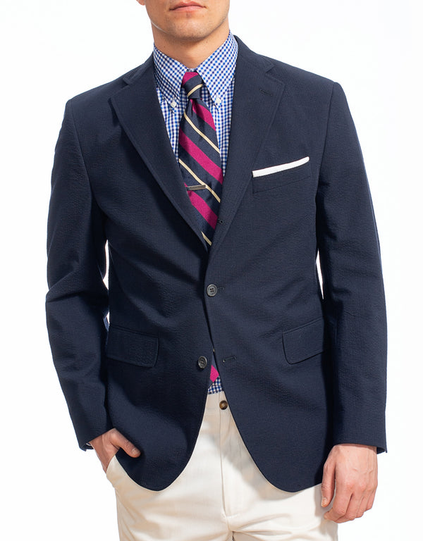 J. PRESS NAVY COTTON SEERSUCKER SPORT COAT