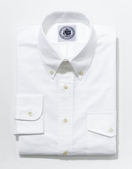 OXFORD BUTTON DOWN WITH FLAP POCKET - WHITE