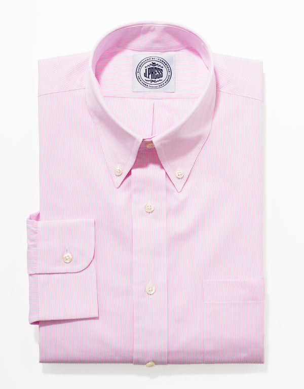 PINK/WHITE PENCIL STRIPE DRESS SHIRT
