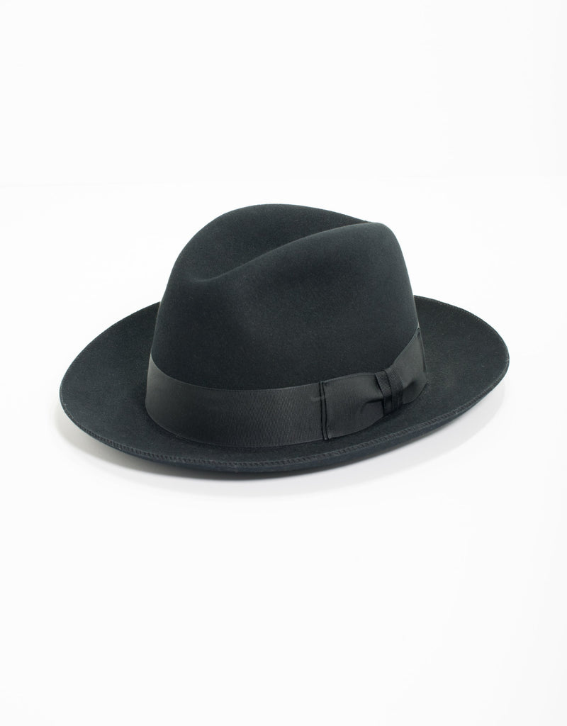 BLACK PINCHFRONT CROWN FEDORA