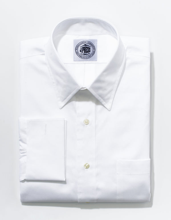 WHITE PINPOINT FRENCH CUFF BUTTON DOWN SHIRT