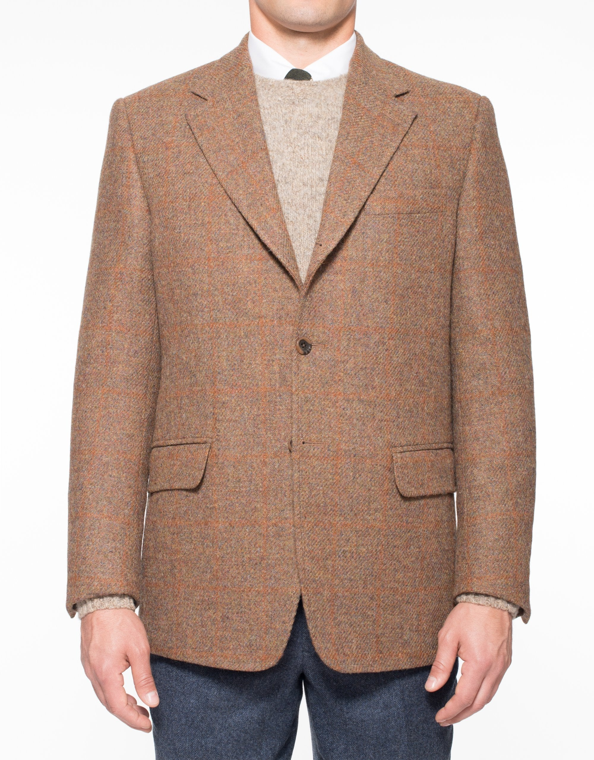 HARRIS TWEED RUST OLIVE WITH TONAL RUST PANE