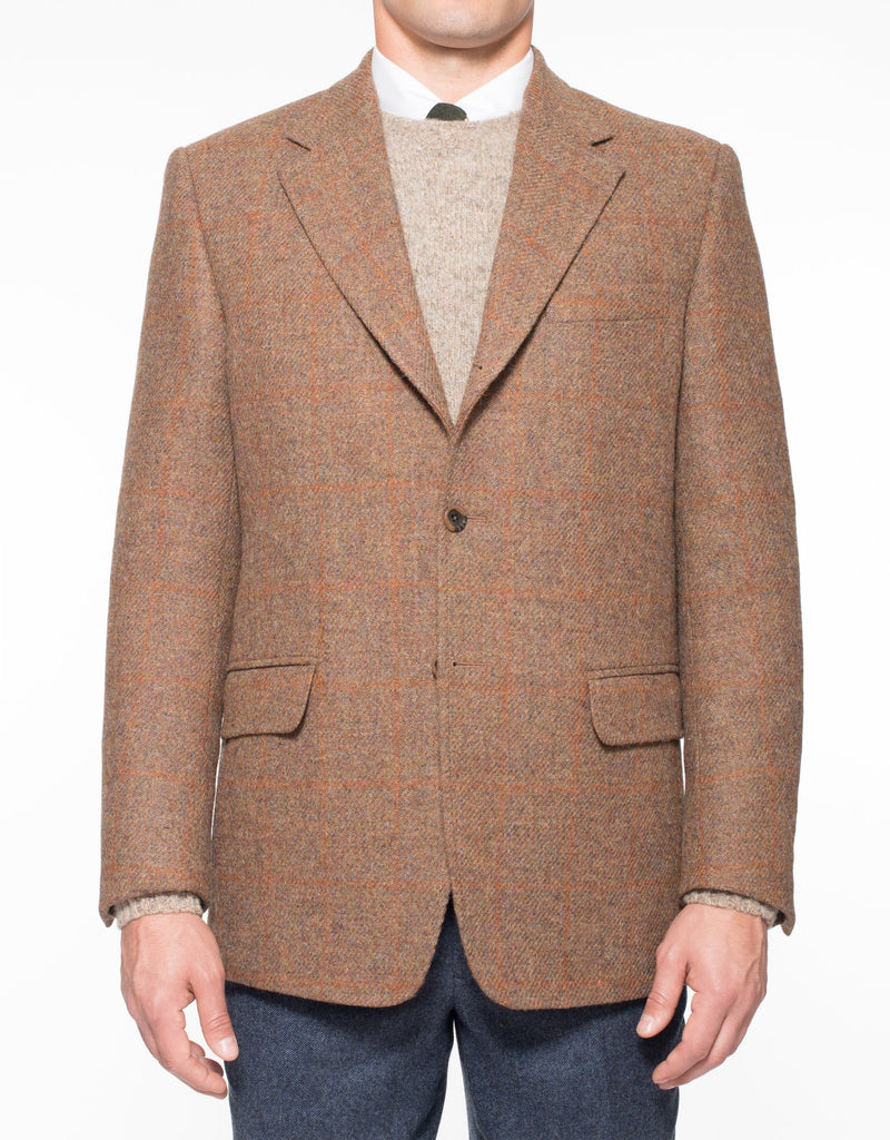 HARRIS TWEED RUST OLIVE WITH TONAL RUST PANE SPORT COAT - CLASSIC FIT