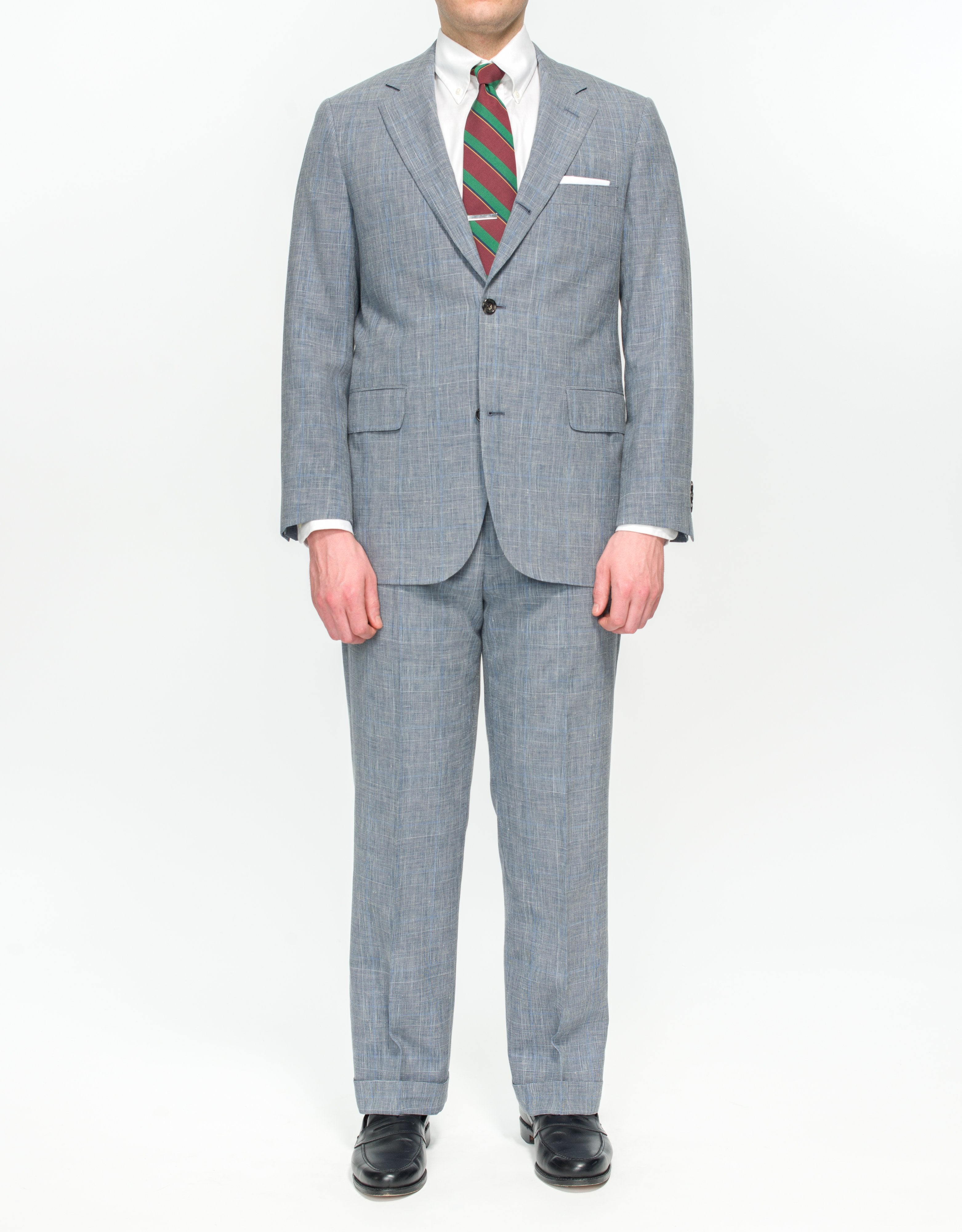 PRESSIDENTIAL SUIT- GREY GLEN CHECK WITH BLUE PANE