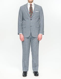 Pressidential Suit Grey Glen Check With Blue Pane