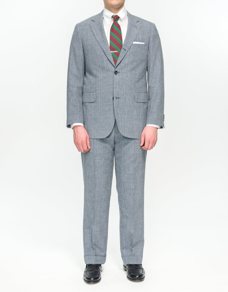 GREY GLEN CHECK WITH BLUE PANE SUIT - CLASSIC FIT