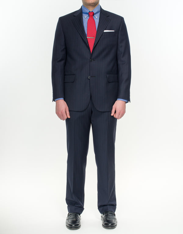 NAVY PIN STRIPE SUIT - CLASSIC FIT