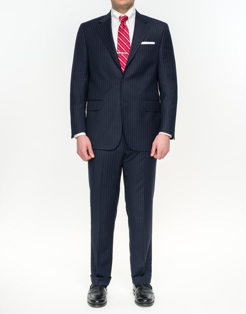 PRESSTIGE SUIT- NAVY WITH BLUE STRIPE
