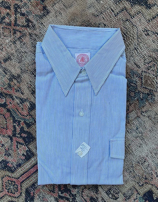 VINTAGE J. PRESS BROADCLOTH SHIRT - WHITE/BLUE - J. PRESS