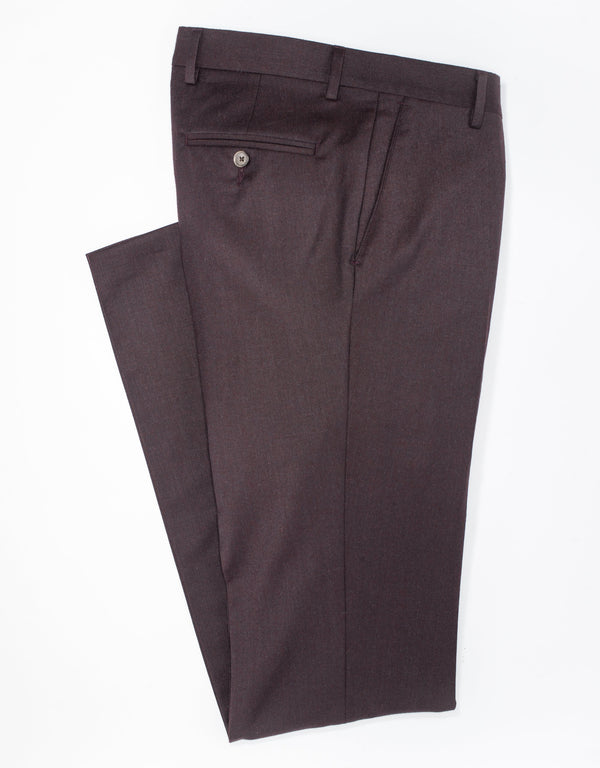 STRETCH WOOL TROUSERS - BURGUNDY