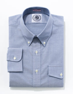BLUE OXFORD W/ FLAP BUTTON DOWN SHIRT - TRIM FIT