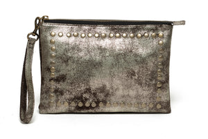 City Pouch | Distressed Metallic Brown