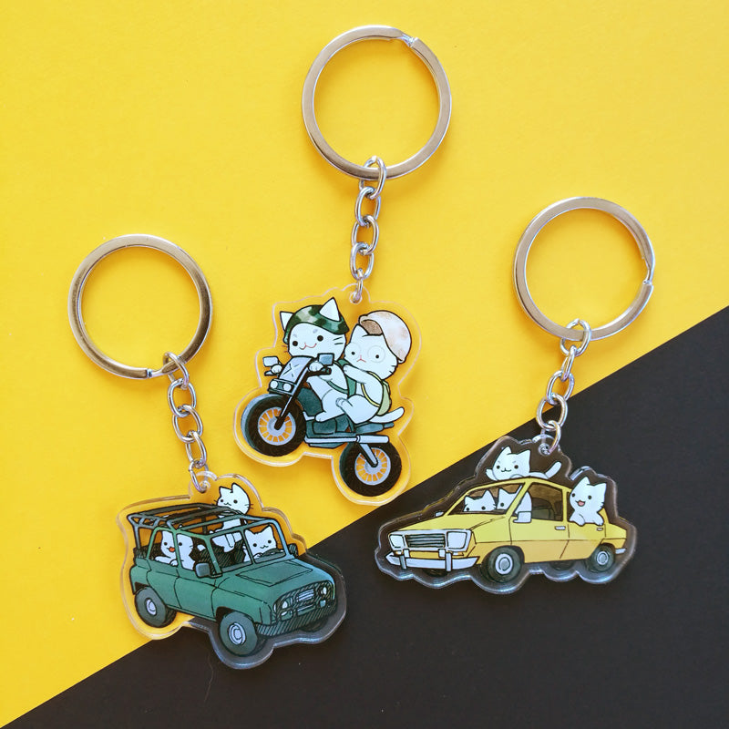 Cats in a Car Keychain