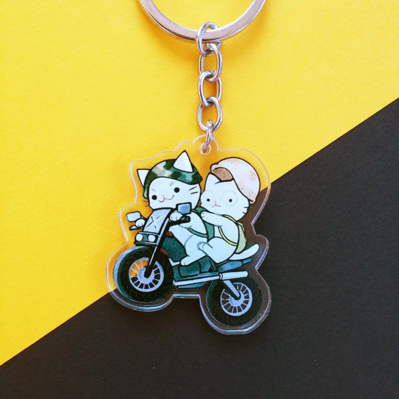Cats on a Bike Keychain