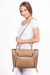 Camille Beige Leather Tote Bag